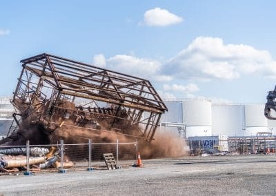 Demolition of a Koppers chemical transfer tower in Mayfield, NSW